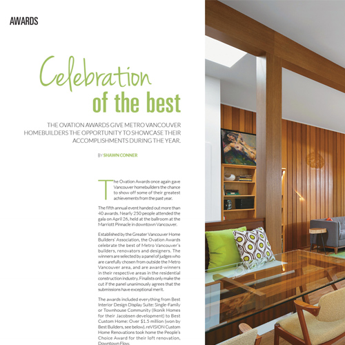 West Coast Homes U0026 Design Magazine   Ovation Awards