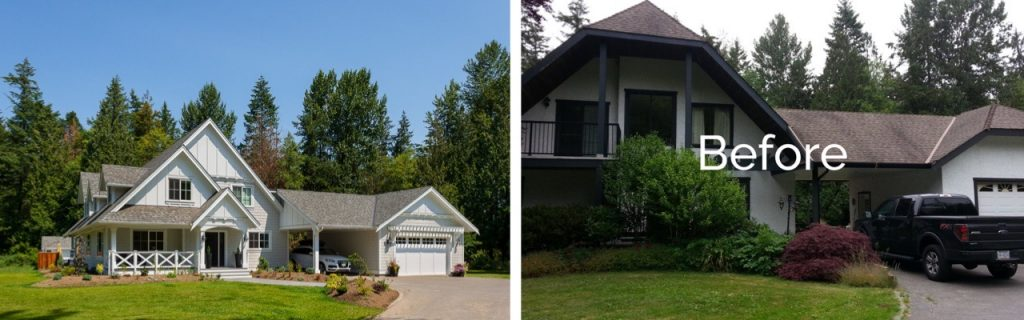 Epic before and after renovation photos of a Langley home