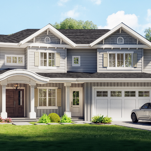 Architectural rendering of first step code 5 home built in Burnaby bc